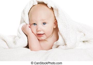 baby, belagt, hos, hvid håndklæde, glade, seks, måneder, gamle, barnet, dreng, under, tæppe, rense, infant, barn, på hvide, baggrund