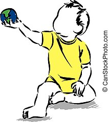 baby, besitz, a, weltkarte, kugelförmig, kugel, illustration.eps