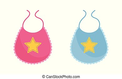 Baby bib vector illustration set - pink and blue newborn wearing decorated with yellow star.