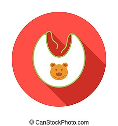 Baby bib with bear icon, flat style
