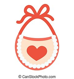 Baby bib with red heart vector illustration isolated on white