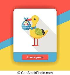 baby bird flat icon
