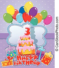 Baby birthday card with balloons, big cake and gift boxes. Three