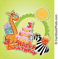 Baby birthday card with girafe and zebra, big cake and gift boxe