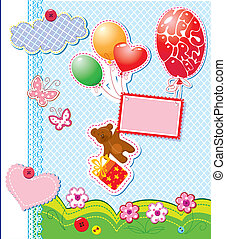 baby birthday card with teddy bear and gift box flying with...