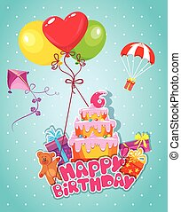 Baby birthday card with teddy bear, balloons, big cake and gift