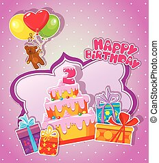 Baby birthday card with teddy bear, big cake and gift boxes. Two