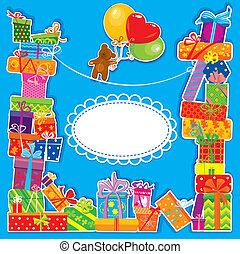 baby birthday card with teddy bear