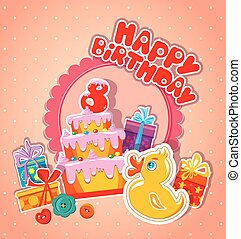 Baby birthday card with yellow duck, big cake and gift boxes. Ei