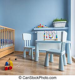 baby blauw, kamer