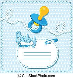 baby blauw, shower., kaart, mal