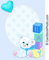 """Blue design with Teddy Bear and word """"baby"""" spelled out by blocks. Arrival card"""