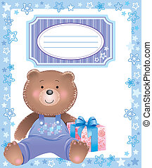 Baby blue frame with little bear
