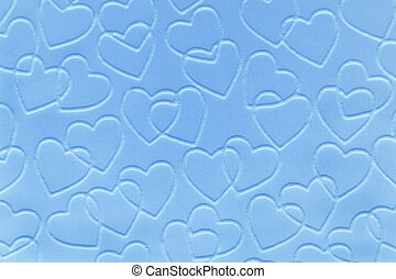 Pastel baby blue double linked hearts embossed on paper.