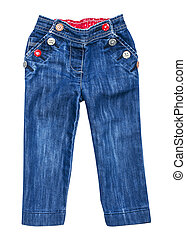 baby blue jeans with multi-colored buttons on an isolated white background