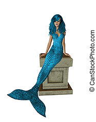 Baby Blue Mermaid Sitting On A Pedestal - Baby blue mermaid...
