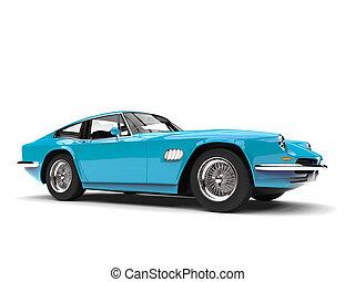 Baby blue vintage fast car
