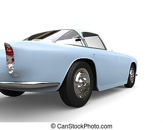 Baby blue vintage muscle car -  rear wheel closeup shot