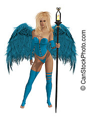Baby Blue Winged Angel With Blonde Hair - Baby blue winged...