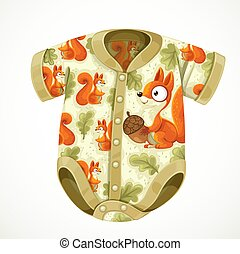 Baby bodysuit with a pattern with cute squirrel cartoon isolated on white background