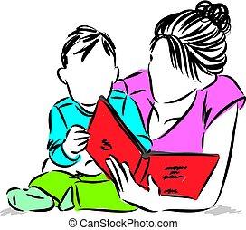 baby, boek, lezende , illustratie, moeder