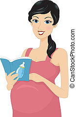 Baby Book - Illustration of a Pregnant Woman Reading a Baby...