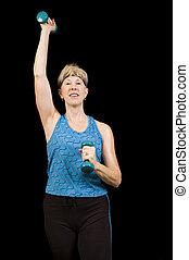 baby-boomer, mulher, atraente, exercitar