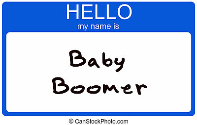Baby Boomer Nametag - A blue sticker name tag with the words...