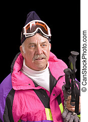 Baby-boomer skier - Baby- boomer skier isolated on black