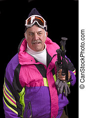 Baby boomer skier isolated on black