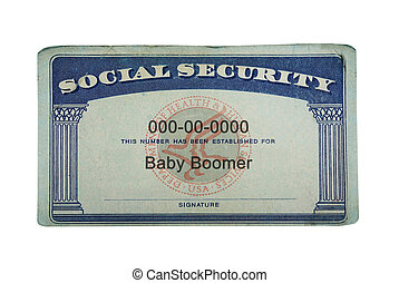 Baby Boomer Social Security - US Social Security card with...