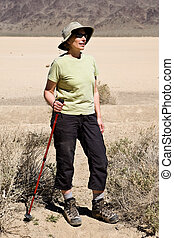 Baby Boomer Women Hiking In The Desert Death Valley National...