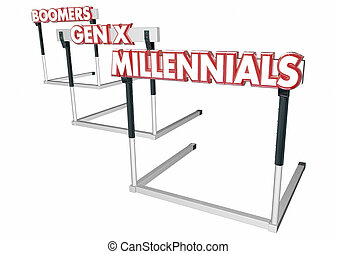 Baby Boomers Generation X Millennials Age Groups Hurdles 3d Illustration