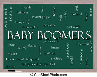 Baby Boomers Word Cloud Concept on a Blackboard with great...