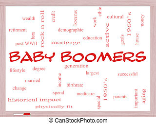 Baby Boomers Word Cloud Concept on a Whiteboard