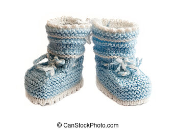 baby bootee - little babys bootee light blue isolated white ...