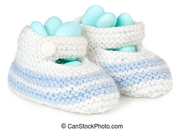 baby booties and dragees - crochet baby booties filled with...