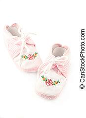 baby booties - little baby girls pink booties appropriate ...
