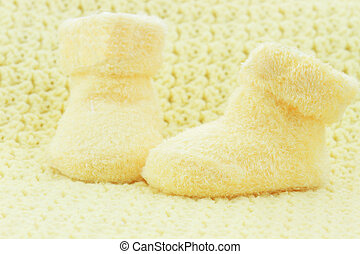 Baby Booties - Yellow baby booties and blanket with room for...