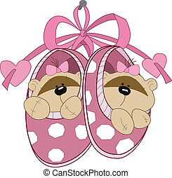 baby booties with toys - The illustration shows the baby...