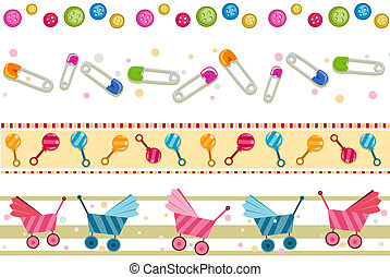 Baby Borders - Baby Border Set with Clipping Path