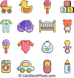 Baby born icons set, cartoon style