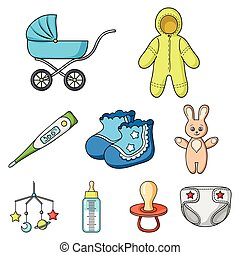 Baby born set icons in cartoon style. Big collection of baby...