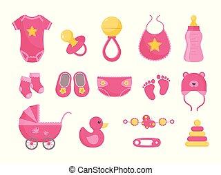 Baby born vector illustration set - various toddler equipment for little girl in flat style.