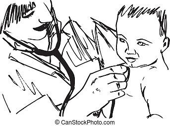 baby., bosquejo, vector, ilustración, doctor