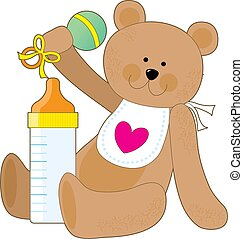 Baby Bottle and Bib - A teddy bear holding a rattle with a...