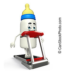 Cartoon Character of baby bottle with walking machine