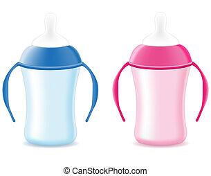 baby bottle feeding for boys and girls vector illustration