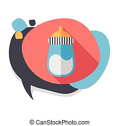 Baby bottle flat icon with long shadow, EPS 10