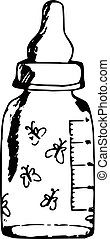 baby bottle - hand-made illustration of a series of items,...
